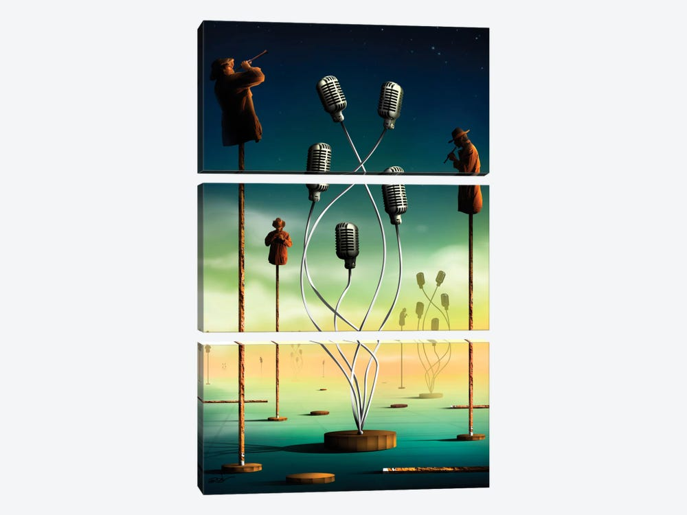 Flautistas (Flutists) by Marcel Caram 3-piece Canvas Wall Art