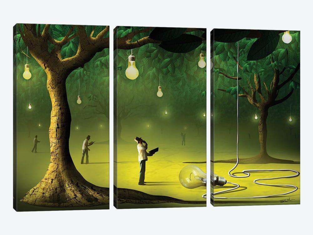 Lâmpadas na Floresta (Lamps In  The Forest) by Marcel Caram 3-piece Canvas Art Print