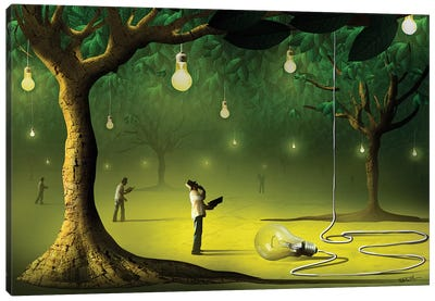 Lâmpadas na Floresta (Lamps In  The Forest) Canvas Print #MCA16