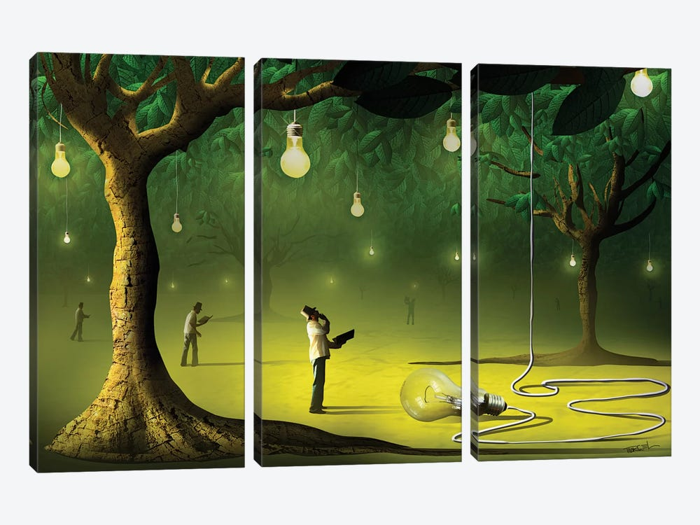 Lâmpadas na Floresta (Lamps In  The Forest) by Marcel Caram 3-piece Canvas Art Print
