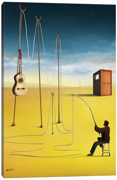 O Pescador de Violão (The Guitar Fisherman) Canvas Art Print