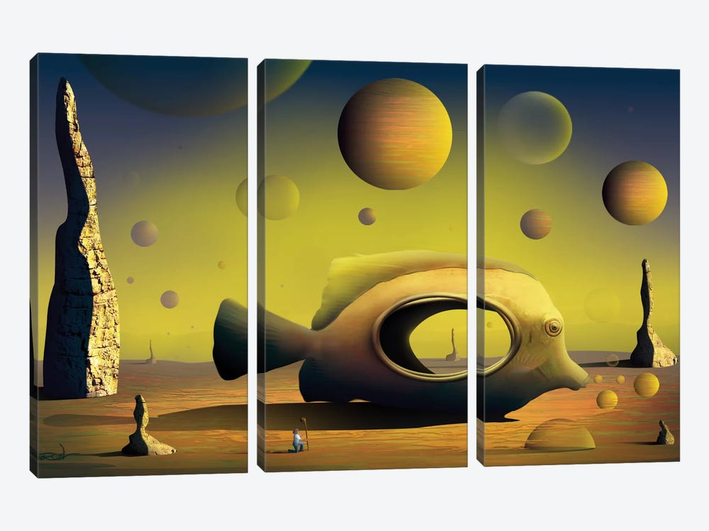 Paisagem com Peixe (Landscape With Fish) by Marcel Caram 3-piece Canvas Art