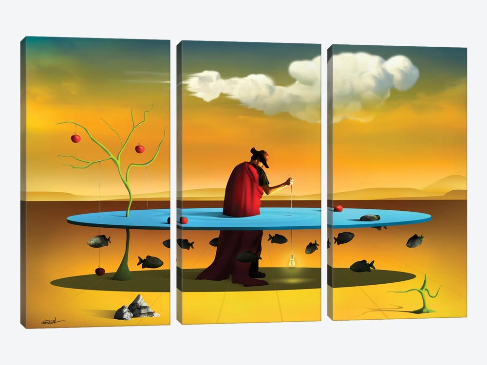 Pastor com Rebanho (Shepherd With Flock) by Marcel Caram 3-piece Canvas Art