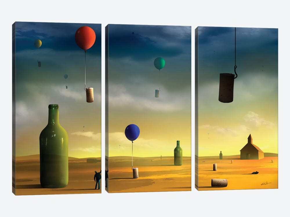 Rolhas (Corks) by Marcel Caram 3-piece Canvas Wall Art