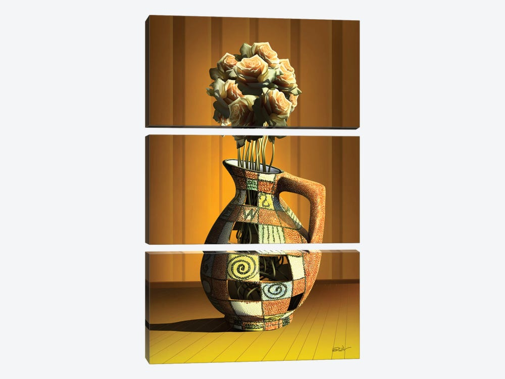Vaso de Rosas (Rose Vase) by Marcel Caram 3-piece Canvas Print