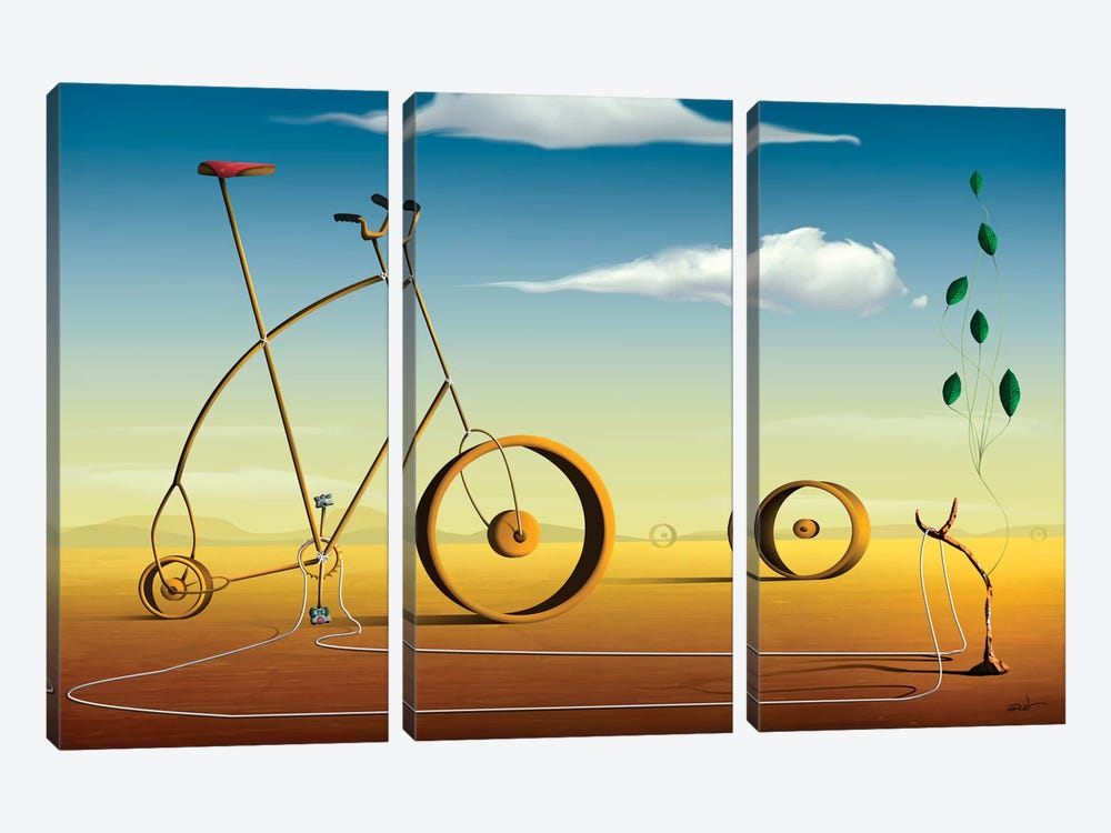 A Bicicleta (The Bicycle) by Marcel Caram 3-piece Art Print