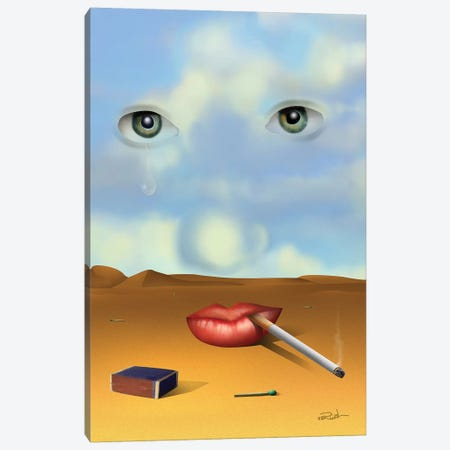 Retrato Com Cigarro (Portrait With Cigarette) Canvas Print #MCA44} by Marcel Caram Canvas Wall Art