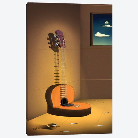 Violao Na Parede (Guitar On Wall) Canvas Print #MCA48} by Marcel Caram Art Print