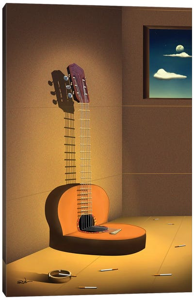 Violao Na Parede (Guitar On Wall) Canvas Art Print