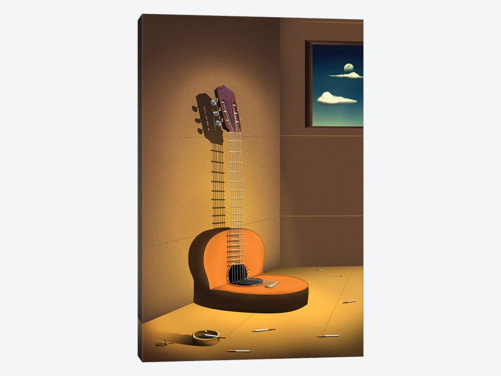 Violao Na Parede (Guitar On Wall) by Marcel Caram 1-piece Canvas Art