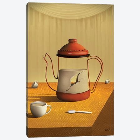 Bule Sobre a Mesa (Teapot On Table) Canvas Print #MCA8} by Marcel Caram Canvas Art