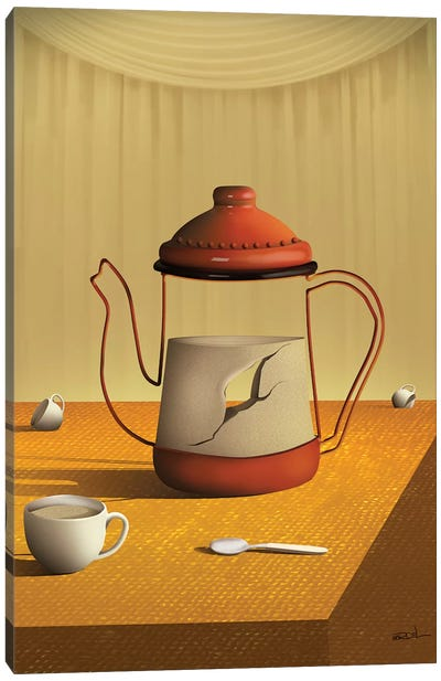 Bule Sobre a Mesa (Teapot On Table) Canvas Art Print