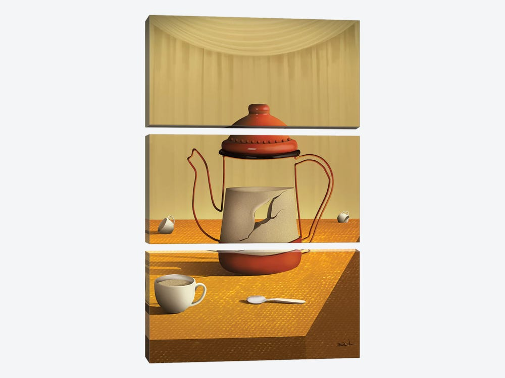 Bule Sobre a Mesa (Teapot On Table) by Marcel Caram 3-piece Art Print