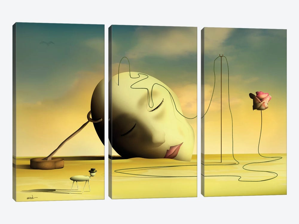 Cabeça Pensante II (Thinking Head II) by Marcel Caram 3-piece Canvas Wall Art