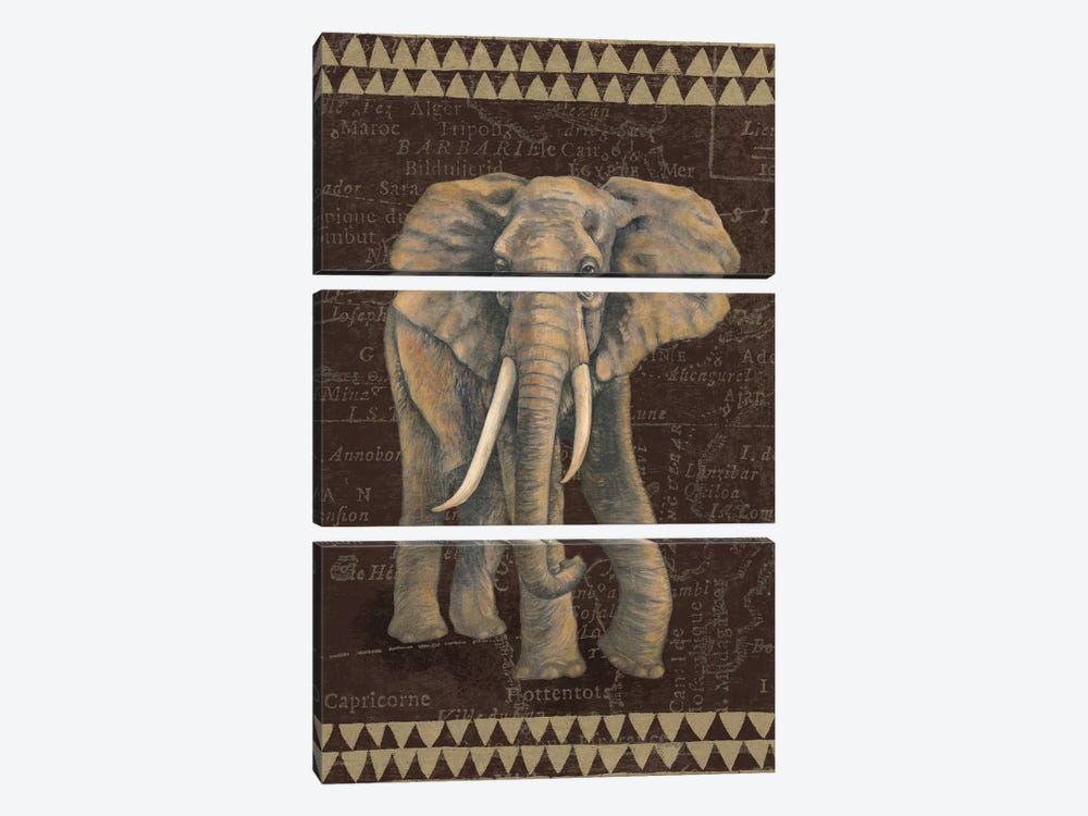 Grand Elephant Traveller by Naomi McBride 3-piece Canvas Print