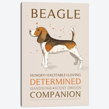 Beagle Canvas Print #MCE11} by Michelle Campbell Canvas Art