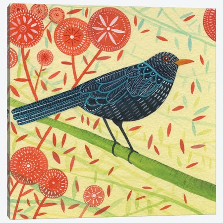 Blackbird Pair II Canvas Print #MCE18} by Michelle Campbell Canvas Artwork