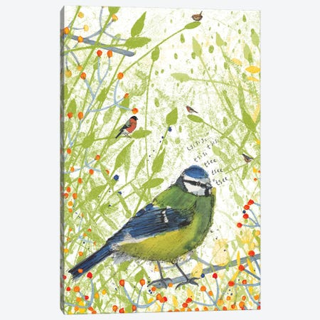 Blue Tit Canvas Print #MCE19} by Michelle Campbell Canvas Wall Art