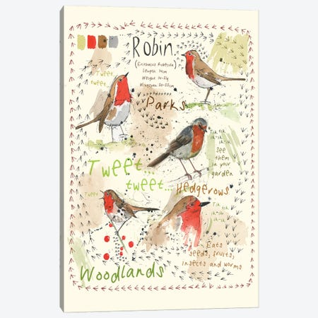 Birds In Your Garden - Robin Canvas Print #MCE1} by Michelle Campbell Canvas Art