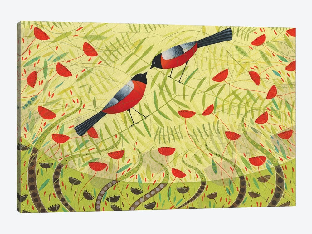 Bullfinches by Michelle Campbell 1-piece Canvas Artwork