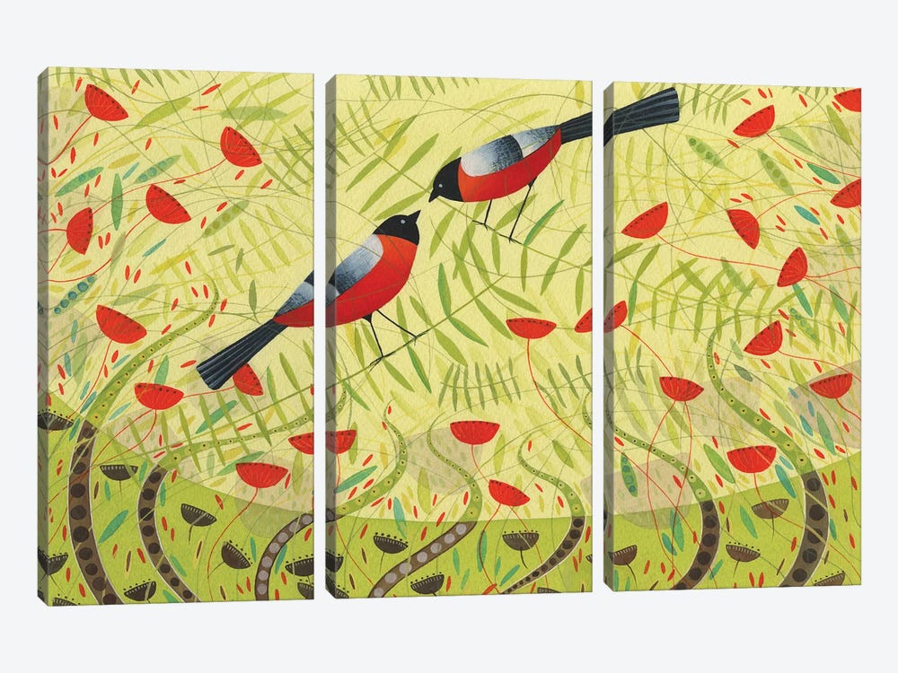 Bullfinches by Michelle Campbell 3-piece Canvas Wall Art