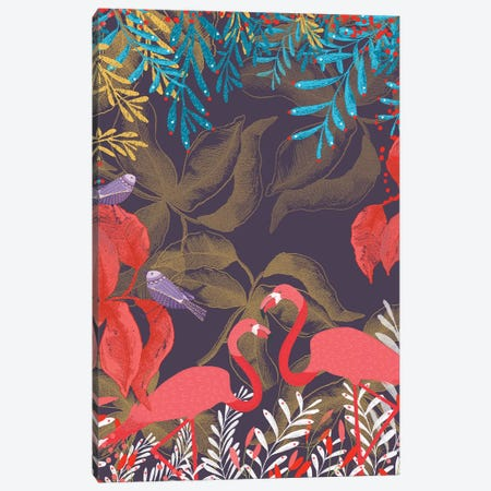 Flamingo Love Canvas Print #MCE22} by Michelle Campbell Canvas Print