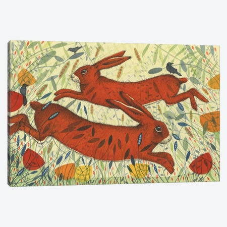 Hares & Crow Canvas Print #MCE26} by Michelle Campbell Canvas Wall Art