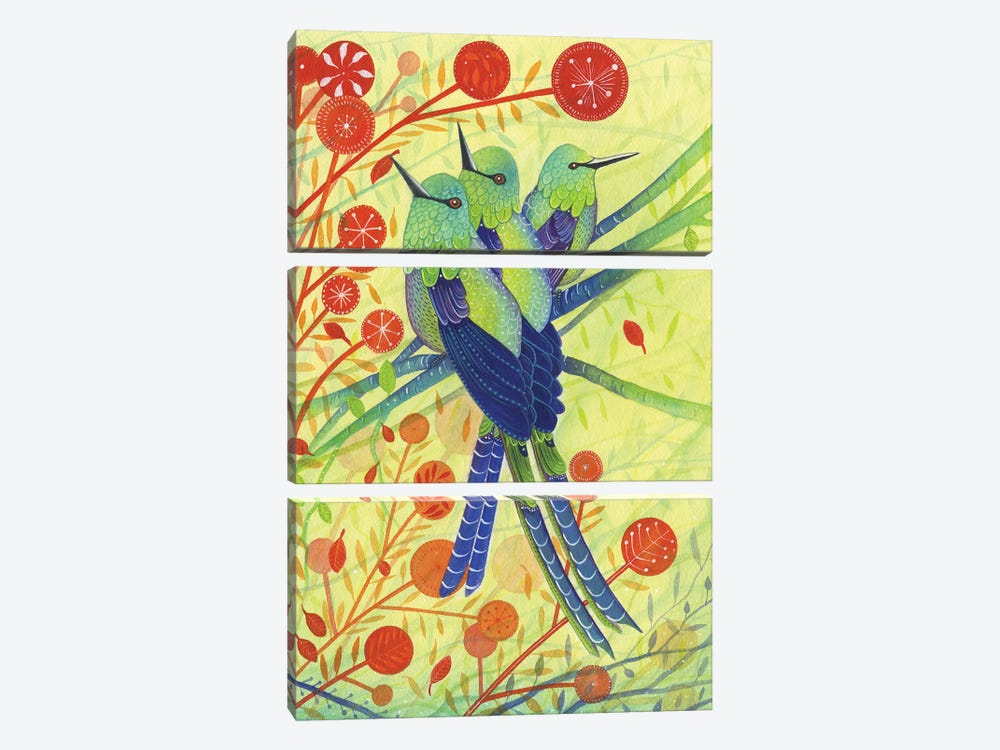 Hummingbirds by Michelle Campbell 3-piece Canvas Art