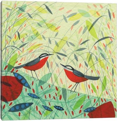 Nuthatches Design Canvas Art Print