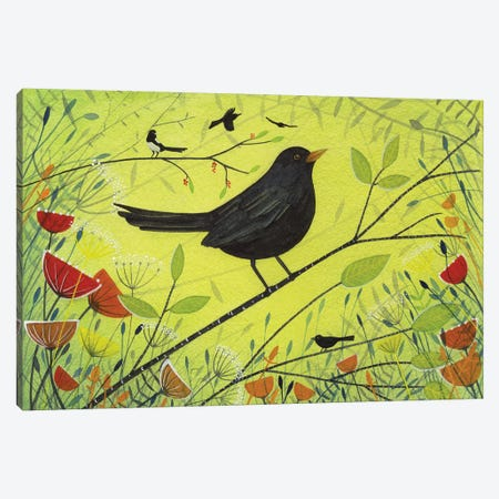Spring Blackbird Canvas Print #MCE34} by Michelle Campbell Canvas Art Print