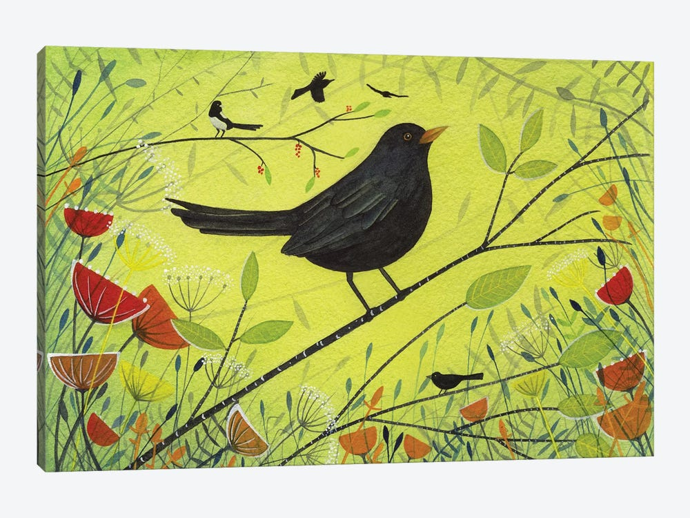 Spring Blackbird by Michelle Campbell 1-piece Canvas Artwork