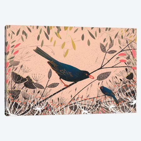 The First Blackbird Canvas Print #MCE39} by Michelle Campbell Canvas Wall Art