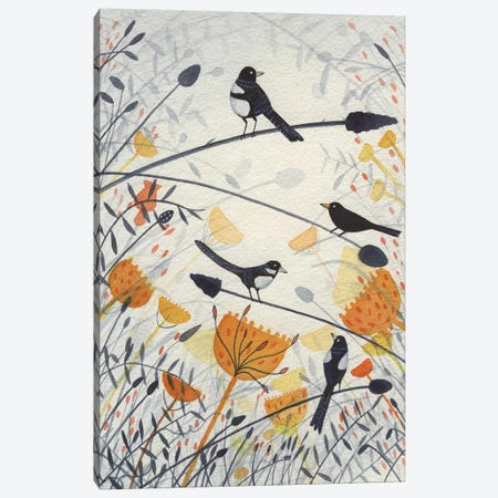 Three Magpies & A Blackbird Canvas Print #MCE42} by Michelle Campbell Art Print