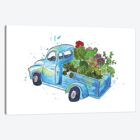 Flower Truck I Canvas Print #MCG1} by Catherine McGuire Canvas Artwork