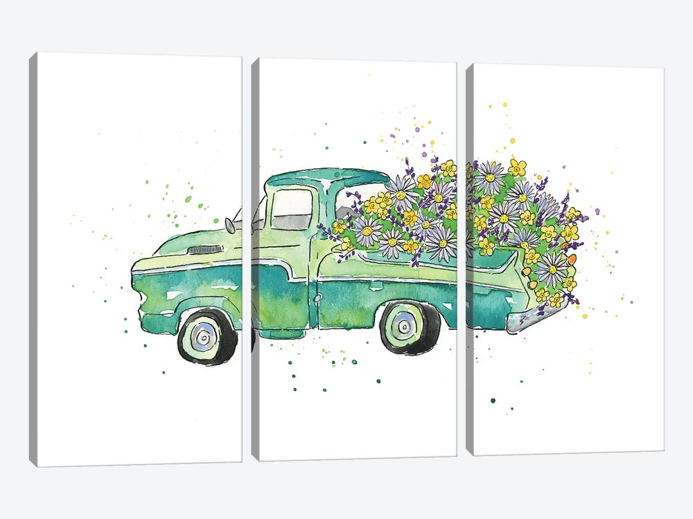Flower Truck II by Catherine McGuire 3-piece Canvas Art Print