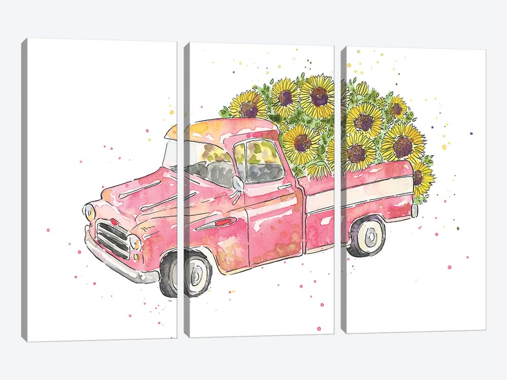 Flower Truck III by Catherine McGuire 3-piece Canvas Artwork