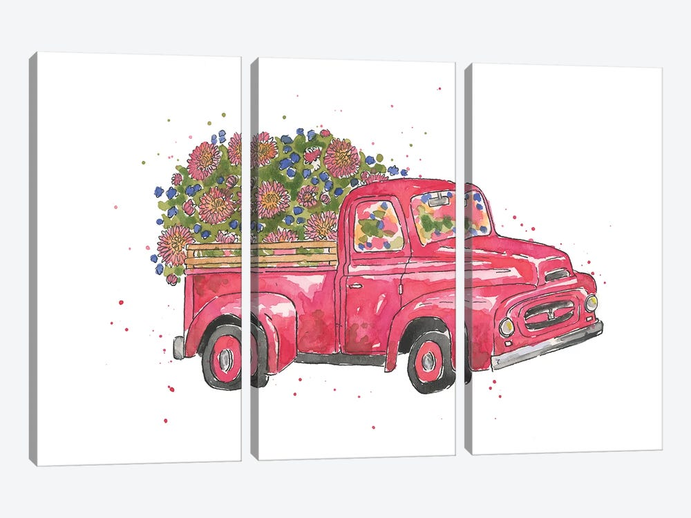 Flower Truck IV by Catherine McGuire 3-piece Canvas Print