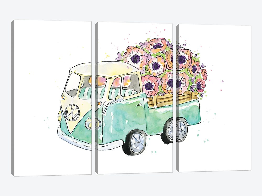 Flower Truck V by Catherine McGuire 3-piece Canvas Art
