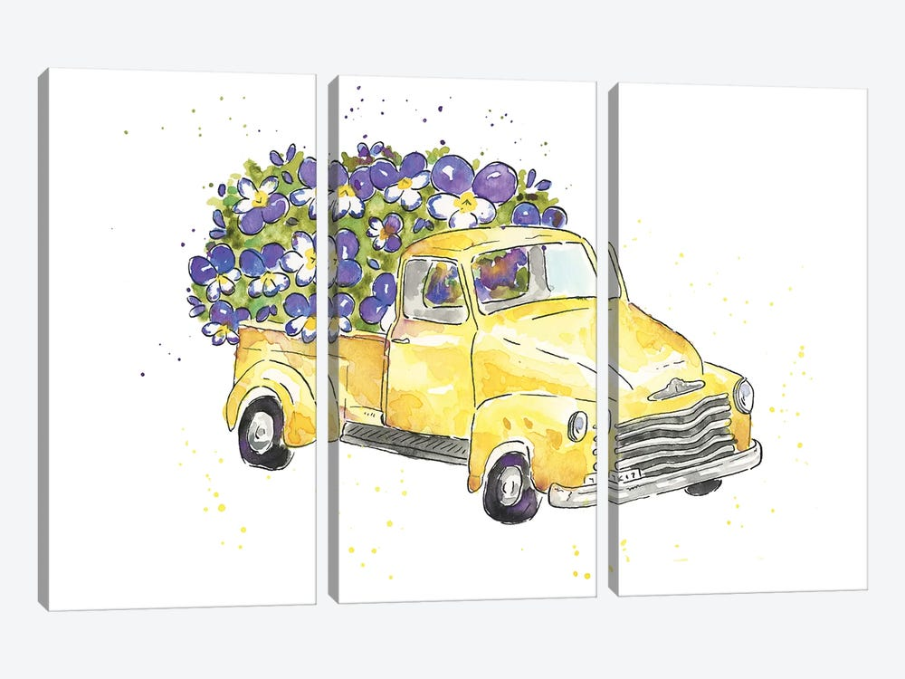 Flower Truck VI by Catherine McGuire 3-piece Canvas Print