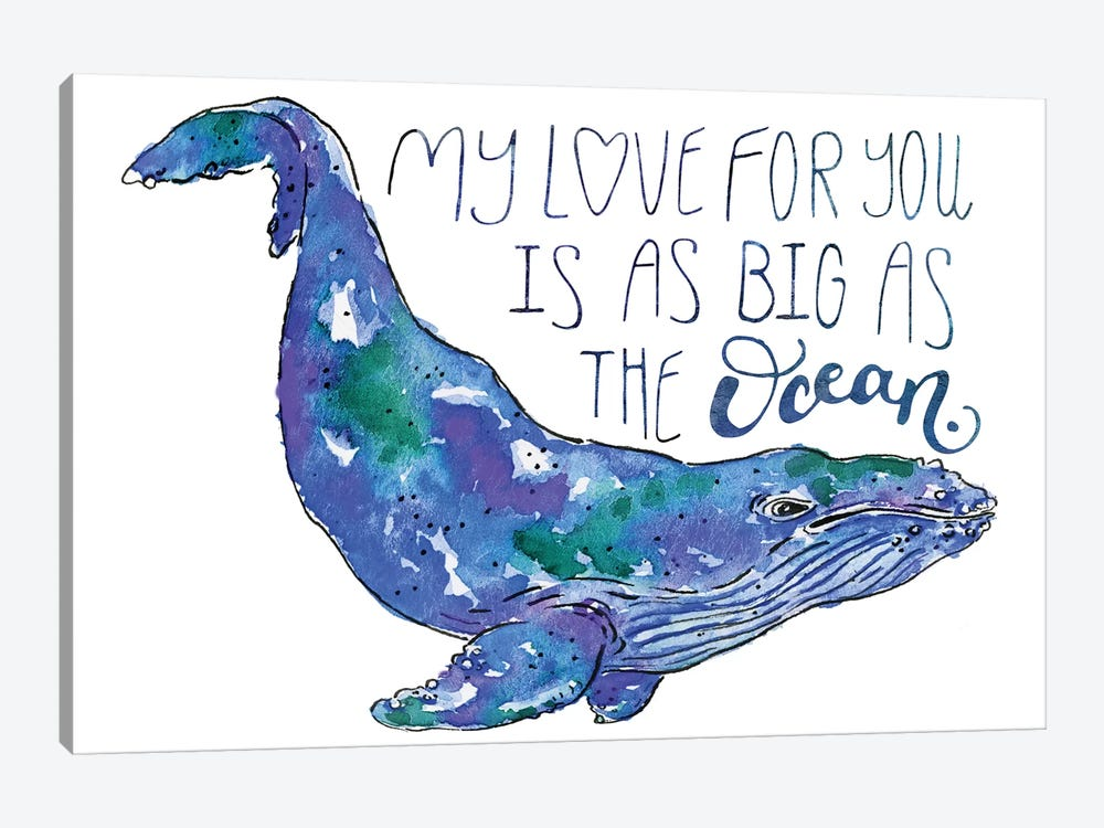 Whale Love II by Catherine McGuire 1-piece Canvas Art Print
