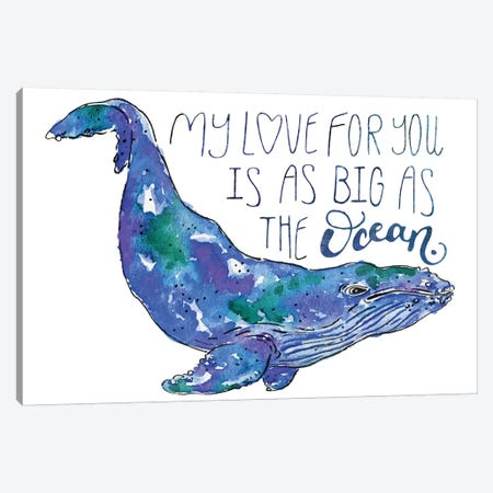Whale Love II Canvas Print #MCG8} by Catherine McGuire Canvas Artwork