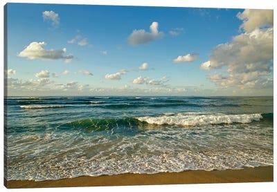 Israel, Haifa. Beaches And Mediterranean Sea Canvas Art Print