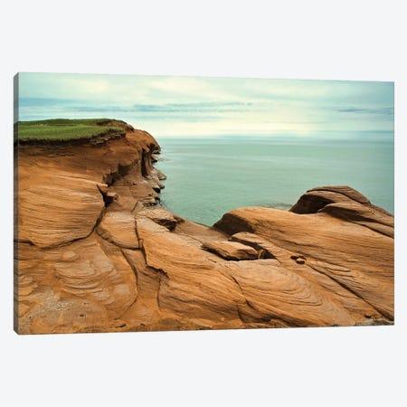 Canada, Quebec, Iles-De-La-Madeleine. Red Cliffs And Ocean Canvas Print #MCH9} by Michele Molinari Art Print