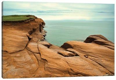 Canada, Quebec, Iles-De-La-Madeleine. Red Cliffs And Ocean Canvas Art Print