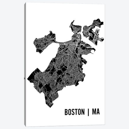 Boston Map Canvas Print #MCP10} by Mr. City Printing Canvas Print