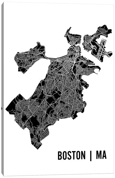 Boston Map Canvas Art Print
