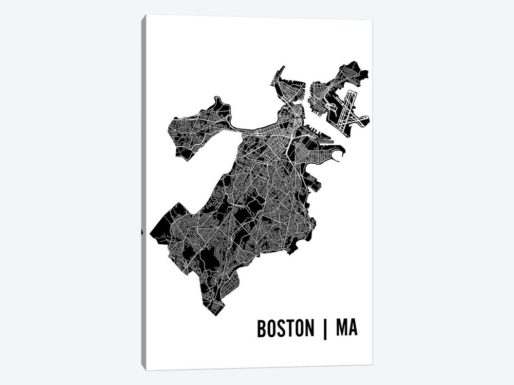 Boston Map by Mr. City Printing 1-piece Canvas Art Print