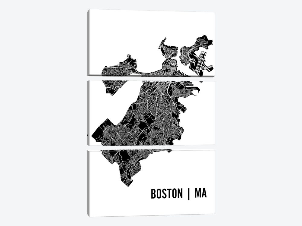 Boston Map by Mr. City Printing 3-piece Canvas Print