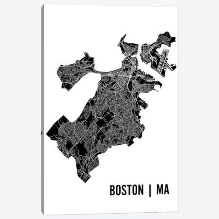 Boston Map Canvas Print #MCP10} by Mr. City Printing Canvas Print