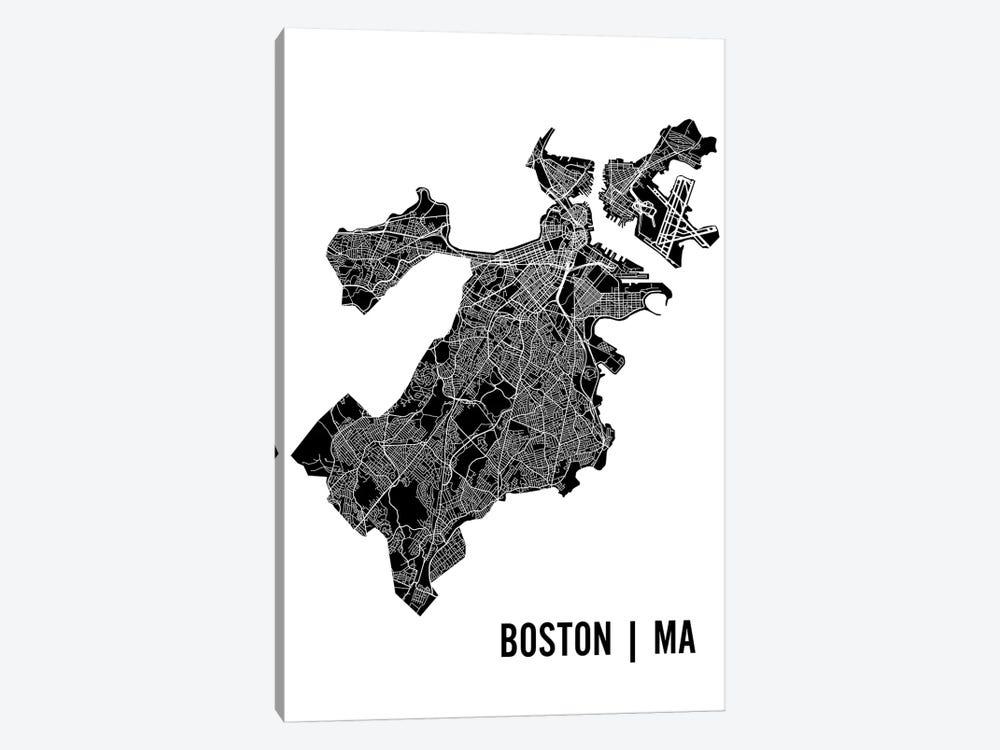 Boston Map by Mr. City Printing 1-piece Canvas Art Print